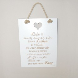 """Tekstbord """"Liefde is ...."""""""