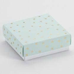 Luxe vierkante doos lichtroze met gouden confetti