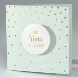Watergroene geboortekaart met confetti in goudfolie