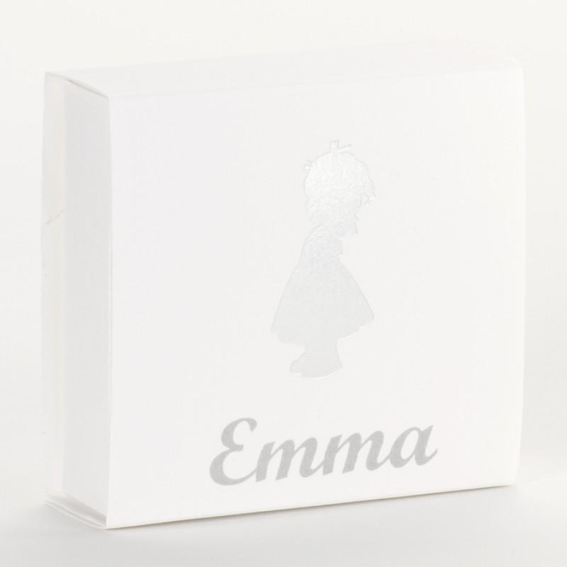 Vierkante doos silhouette meisje