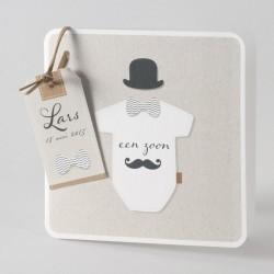 Geboortekaart mister moustache