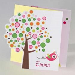 3-luik bollenboom met roze vogel