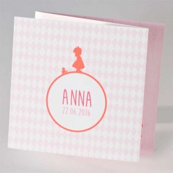 Hip geboortekaartje meisje met eendje en roze ruitjes