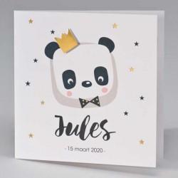 Geboortekaart met panda en gouden kroon
