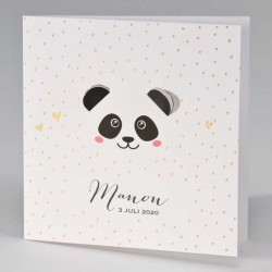 Geboortekaartje Panda met uitgekapte oortjes