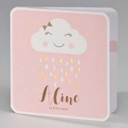 Geboortekaartje Regenwolk Roze met gouden druppels