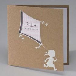 Eco geboortekaart meisje met roze vlieger