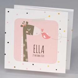 Drieluik giraf met vrolijke stipjes - roze