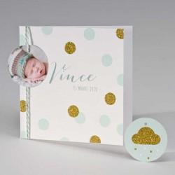 Geboortekaartje met glitterconfetti