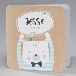 Eco geboortekaart beer met blauw gestreepte trui