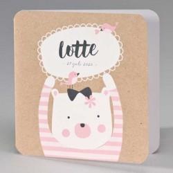 Eco geboortekaart beer met roze gestreepte trui