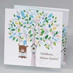 Drieluik schommelende beer aan kleurrijke boom - jongen