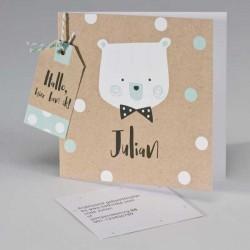 Ecokaart met beer en confetti wit/munt