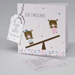 Geboortekaartje Tweeling -meisje/jongen