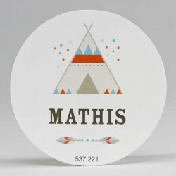 Grote ronde sticker Tipi Wit