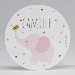 Grote ronde sticker Olifant Roze