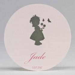 Grote ronde sticker Silhouette Meisje Roze