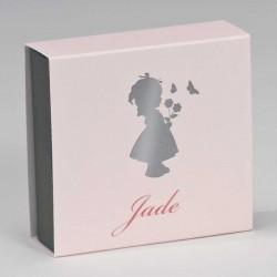 Schuifdoosje Silhouette Meisje Roze